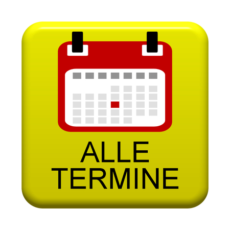 appointments: Yellow isolated Button with calendar symbol showing All Appointments in german language Stock Photo