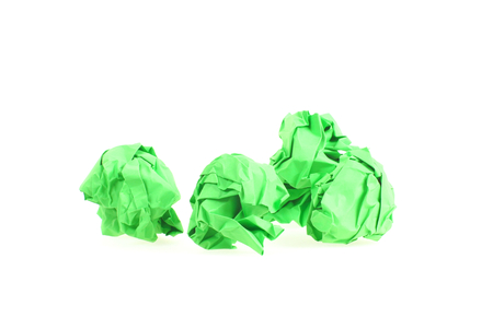 crinkle: Four isolated green Paper Balls Stock Photo