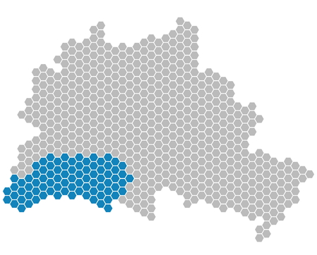 district': Set: Map of Berlin with grey and blue Pixels showing district of Steglitz-Zehlendorf Stock Photo