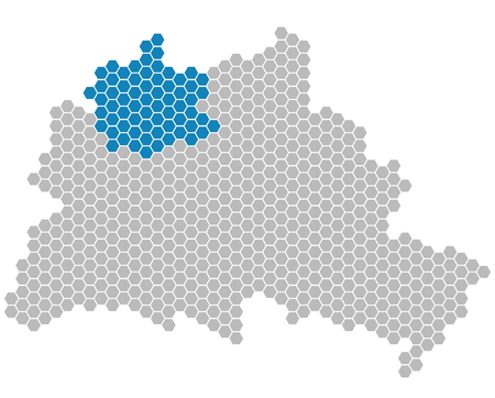 district': Set: Map of Berlin with grey and blue Pixels showing district of Reinickendorf Stock Photo