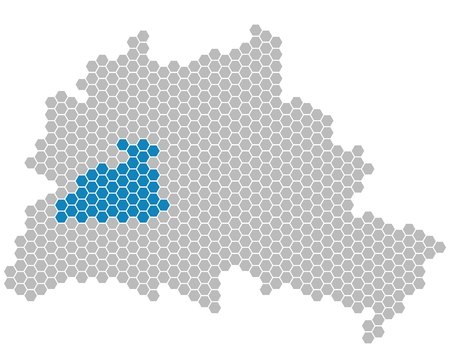 locality: Set: Map of Berlin with grey and blue Pixels showing district of Charlottenburg-Wilmersdorf