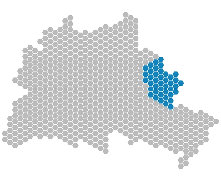 marzahn: Set: Map of Berlin with grey and blue Pixels showing district of Marzahn-Hellersdorf