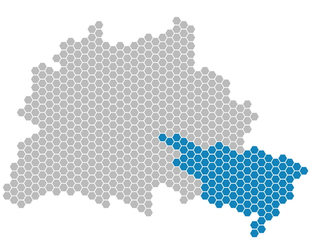 Set: Map of Berlin with gray and blue pixel showing district of Treptow-K?penick