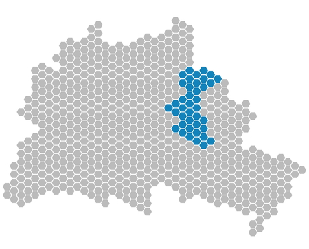 Set: Map of Berlin with grey and blue Pixels showing district of Lichtenberg