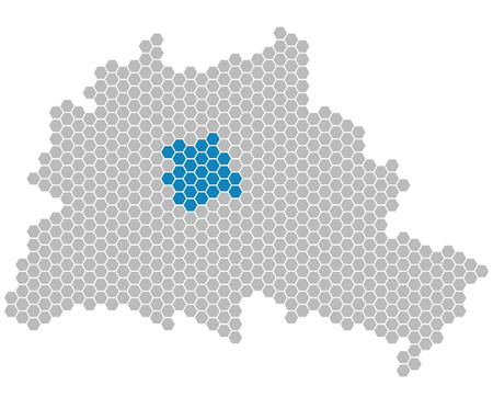 Set: Map of Berlin with grey and blue Pixels showing district of Mitte
