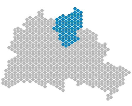 Set: Map of Berlin with grey and blue Pixels showing district of Pankow