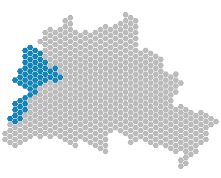 feld: Set: Map of Berlin with grey and blue Pixels showing district of Spandau