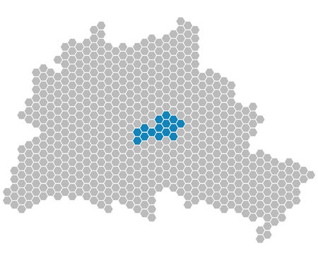 locality: Set: Map of Berlin with grey and blue Pixels showing district of Friedrichshain-Kreuzberg