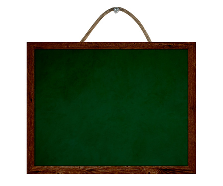 Old green chalkboard with rope and wooden frame