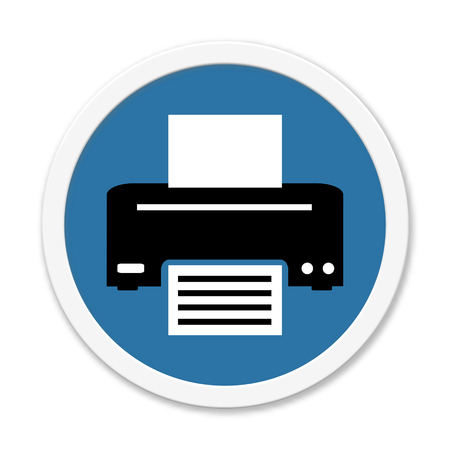 website background: Isolated round blue Button is showing symbol for Printer or Fax Stock Photo