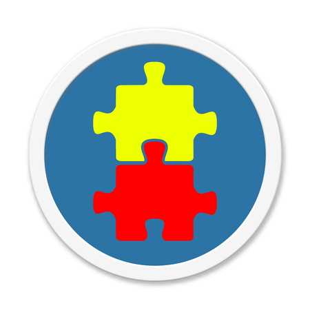 Blue isolated round Button with Symbol of Puzzle