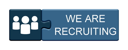 Isolated Puzzle Button with symbol is showing We are Recruiting Stock Photo