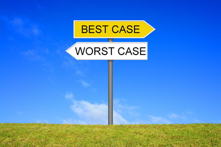the worst: Signpost outside is showing Best Case or Worst Case Stock Photo