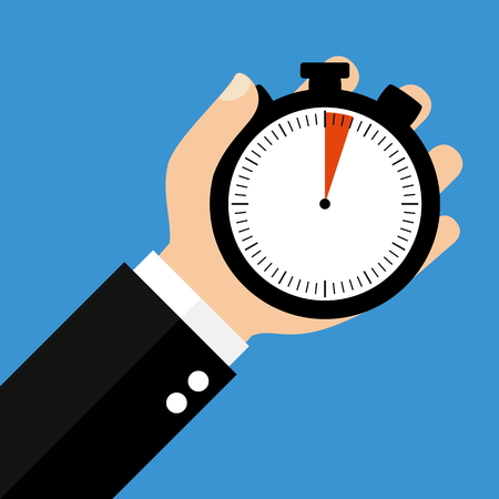 sec: Hand holding Stopwatch showing 3 Seconds or 3 Minutes - Flat Design Stock Photo