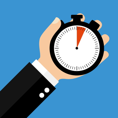 sec: Hand holding Stopwatch showing 4 Seconds or 4 Minutes - Flat Design Stock Photo