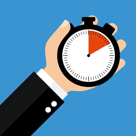 seconds: Hand holding Stopwatch showing 10 Seconds 10 Minutes or 2 Hours - Flat Design