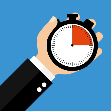 seconds: Hand holding Stopwatch showing 15 Seconds 15 Minutes or 3 Hours - Flat Design