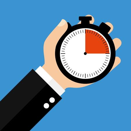 Hand houden Stopwatch blijkt 15 seconden 15 minuten of 3 uur - Flat Design