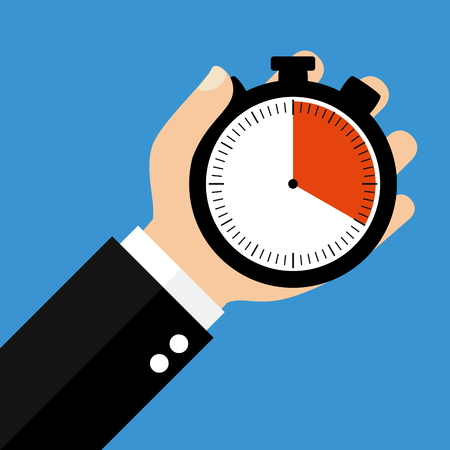 seconds: Hand holding Stopwatch showing 20 Seconds 20 Minutes or 4 Hours - Flat Design
