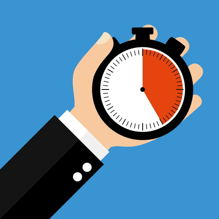 sec: Hand holding Stopwatch showing 25 Seconds 25 Minutes or 5 Hours - Flat Design Stock Photo