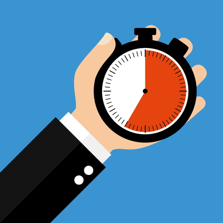 sec: Hand holding Stopwatch showing 35 Seconds 35 Minutes or 7 Hours - Flat Design