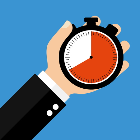 seconds: Hand holding Stopwatch showing 40 Seconds 40 Minutes or 8 Hours - Flat Design