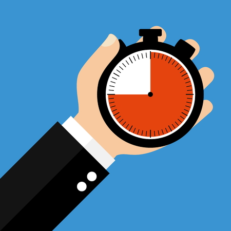 counting five: Hand holding Stopwatch showing 45 Seconds 45 Minutes or 9 Hours - Flat Design