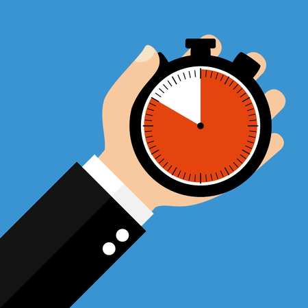 sec: Hand holding Stopwatch showing 50 Seconds 50 Minutes or 10 Hours - Flat Design