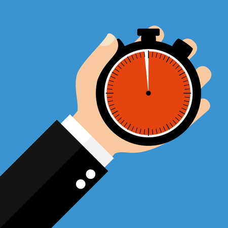seconds: Hand holding Stopwatch showing 59 Seconds or 59 Minutes - Flat Design