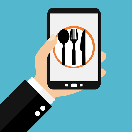 Hand holding Smartphone: Food Delivery - Conception Flat Banque d'images