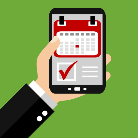 Mano que sostiene el teléfono inteligente: Ahorre la fecha - Diseño plana