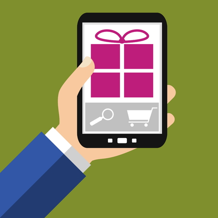 Hand holding Smartphone: Buy Gifts - Flat Design