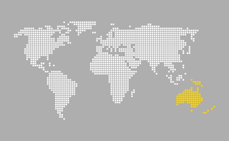 australia modern grey world map with white orange pixels stock photo 65024377