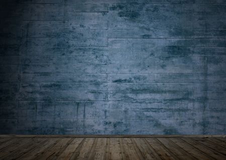 blue grey: Empty dark room with wooden floor and grunge wall