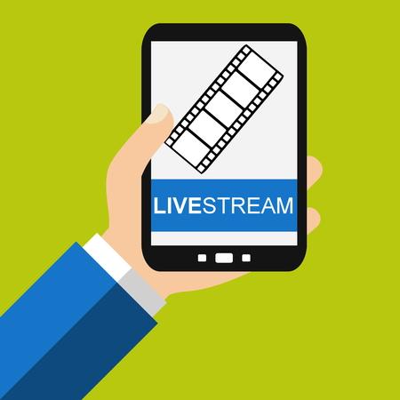 livestream: Hand holding Smartphone: Livestream - Flat Design Stock Photo