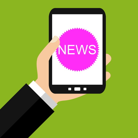 reading app: Hand holding Smartphone: News - Flat Design