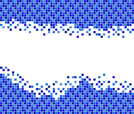 Pixel mosaic background blue white