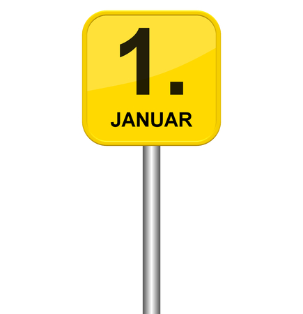 january 1st: Isolated yellow sign showing 1st January in german language Stock Photo
