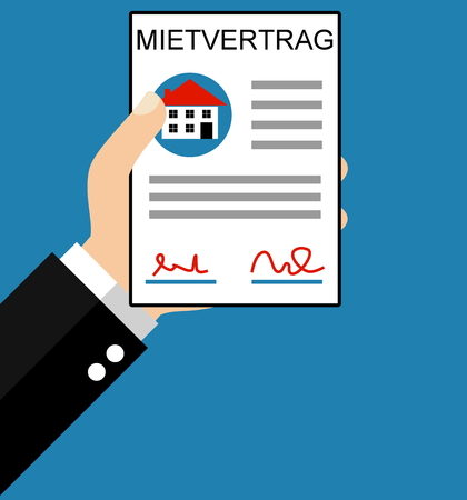 mortage: Hand holding Hiring Contract in german language  - Flat Design