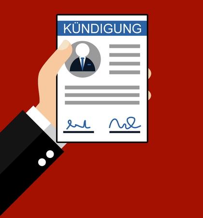 dismissal: Hand holding Dismissal in german language - Flat Design Stock Photo