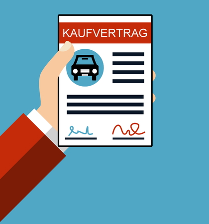 signing papers: Hand holding Purchase Agreement for car in german language - Flat Design Stock Photo