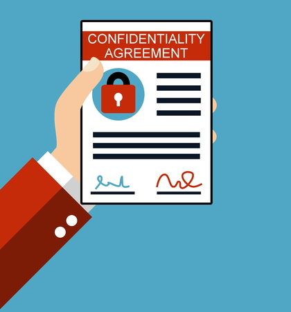 confidentiality: Hand holding Confidentiality Agreement - Flat Design