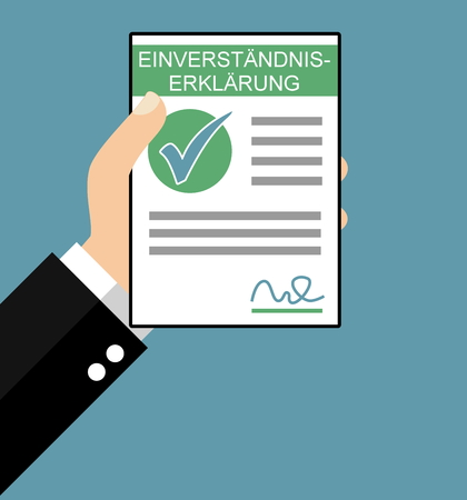 disclosure: Hand holding Consent Agreement in german language - Flat Design Stock Photo