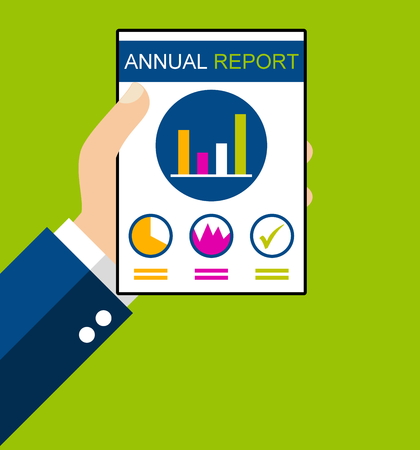 Hand holding Annual Report - Flat Design Stock Photo