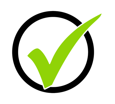 Isolated modern green Tick Symbol with black circle