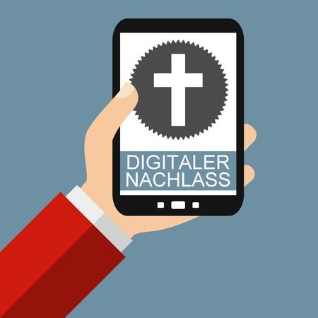 testament: Hand holding Smartphone: Digital Testament in german language - Flat Design