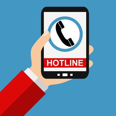 hotline: Hand holding Smartphone: Hotline - Flat Design