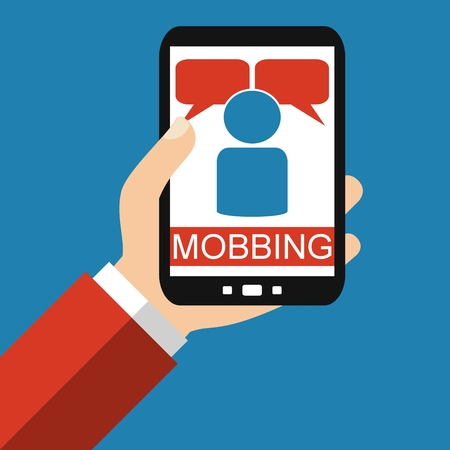 harassing: Hand holding Smartphone: Mobbing Bullying - Flat Design