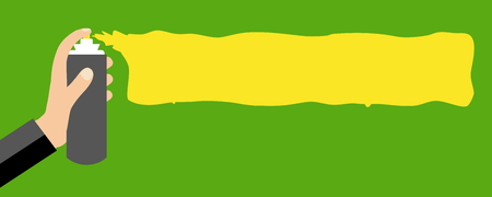 Hand with graffiti can - Flat Design banner yellow green Stock Photo