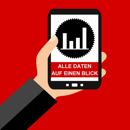 glance: Hand holding Smartphone: All Data at a glance in german language - Flat Design